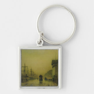 Liverpool Docks Customs House and Salthouse Docks, Silver-Colored Square Keychain
