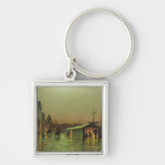 Liverpool Docks Silver-Colored Square Keychain