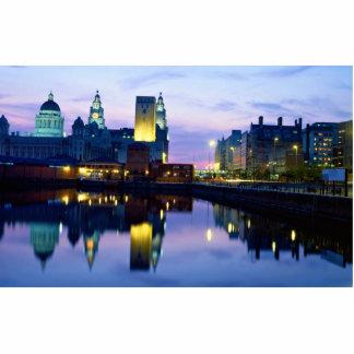 Liverpool en la noche, Inglaterra Fotoescultura Vertical