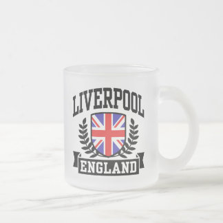Liverpool England Frosted Glass Coffee Mug