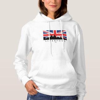 Liverpool England UK Skyline British Flag Hoodie