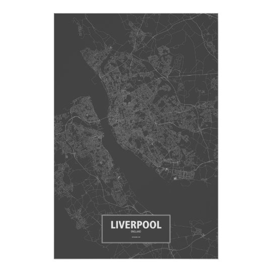 Liverpool, England (white on black) Poster