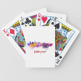 Liverpool skyline in watercolor bicycle playing cards