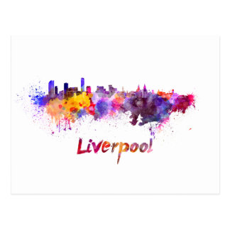 Liverpool skyline in watercolor postal