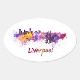 Liverpool skyline in watercolor calcomanías ovaladas personalizadas