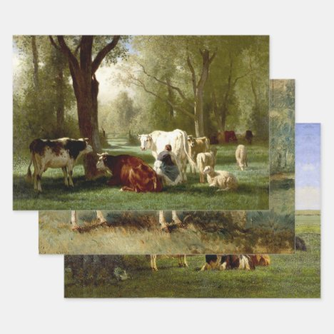 LIVESTOCK LANDSCAPES HEAVY WEIGHT DECOUPAGE PRINTS WRAPPING PAPER SHEETS