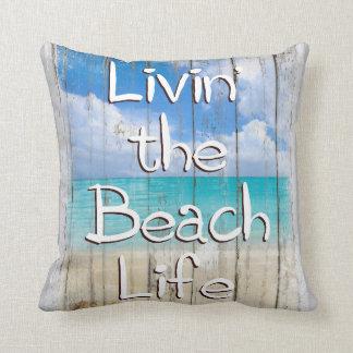 Livin la vida de la playa, almohada de tiro de la
