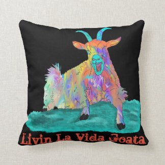 Livin La Vida Goata Funny Screaming Goat Design Throw Pillow