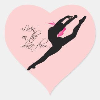 Livin on the Dance Floor Pink Dancer Heart Sticker