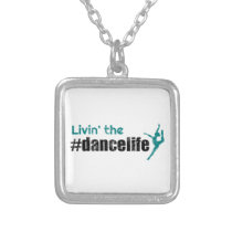 Livin' the Dance Life Student Teacher square Silver Plated Necklace