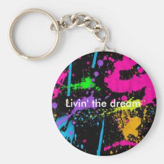 Livin' the dream basic round button keychain