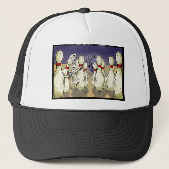 Living Bowling Pin Will Funny Gifts Tees Cards Etc Trucker Hat