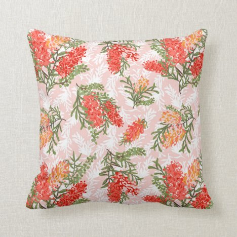 Living Coral Grevilleas Throw Pillow