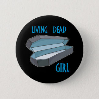 Living Dead Girl Coffin Pinback Button