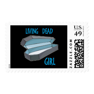 Living Dead Girl Coffin Postage Stamps