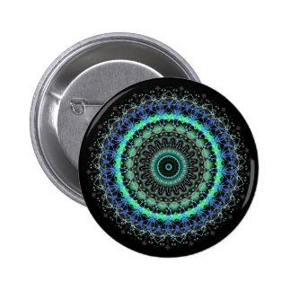 Living Green Mandala kaleidoscope button pin