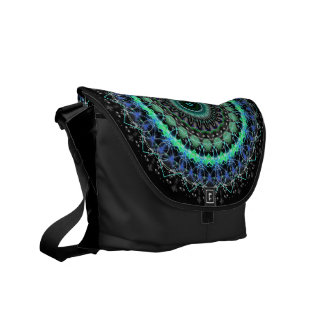 Living Green Mandala kaleidoscope messenger bag