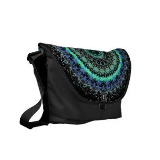 Living Green Mandala kaleidoscope messenger bag