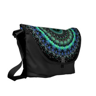 Living Green Mandala kaleidoscope messenger bag L