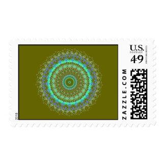 Living Green Mandala kaleidoscope postage stamps