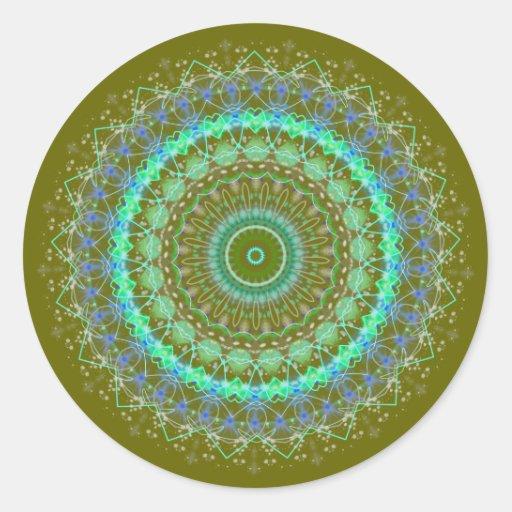 Living Green Mandala kaleidoscope stickers