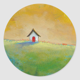 Living in Color - happy little landscape painting Classic Round Sticker