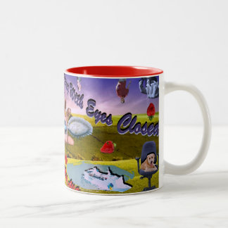 Living is Easy with Eyes Closed Two-Tone Coffee Mug