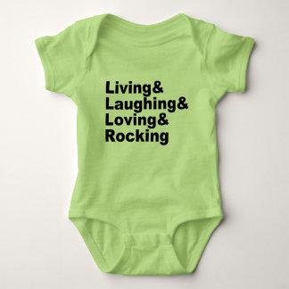 Living&Laughing&Loving&ROCKING (blk) Baby Bodysuit