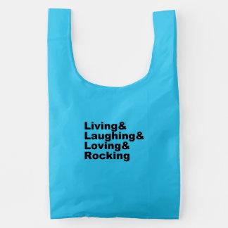 Living&Laughing&Loving&ROCKING (blk) Reusable Bag