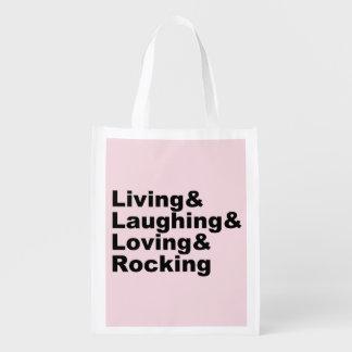 Living&Laughing&Loving&ROCKING (blk) Reusable Grocery Bag
