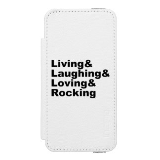 Living&Laughing&Loving&ROCKING (blk) Wallet Case For iPhone SE/5/5s
