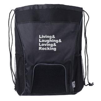 Living&Laughing&Loving&ROCKING (wht) Drawstring Backpack