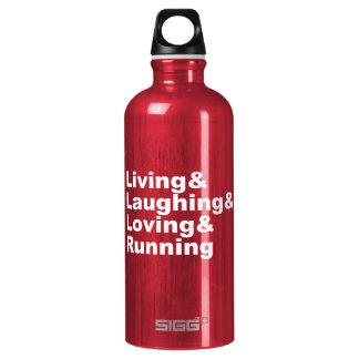 Living&Laughing&Loving&RUNNING (wht) Aluminum Water Bottle