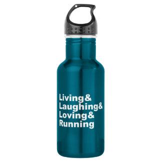 Living&Laughing&Loving&RUNNING (wht) Stainless Steel Water Bottle