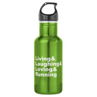 Living&Laughing&Loving&RUNNING (wht) Water Bottle