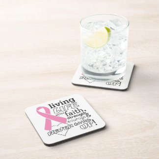 Living Life With Faith Breast Cancer Awareness Beverage Coasters