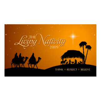 Living Nativity Christmas gift tag Business Card