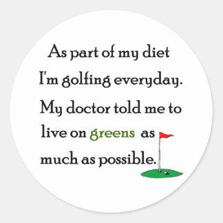 Living On Greens Round Sticker