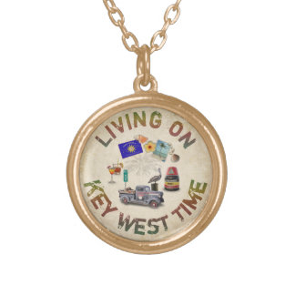 Living on Key West Time Gold Plated Necklace