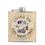 Living on Key West Time Hip Flask