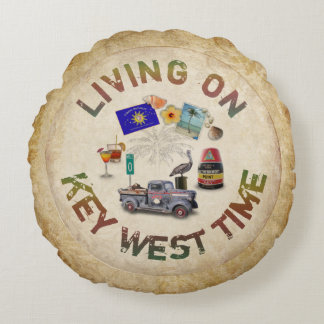 Living on Key West Time Round Pillow