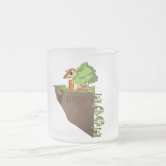 Living on the edge 10 oz frosted glass coffee mug