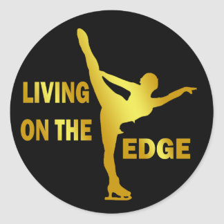 LIVING ON THE EDGE ROUND STICKER