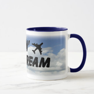 Living The Dream Blue Clouds Mug