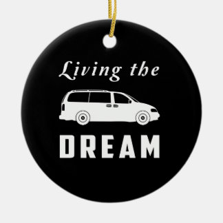 Living the Dream Double-Sided Ceramic Round Christmas Ornament