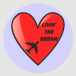 Living The Dream Heart Classic Round Sticker
