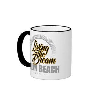 Living the Dream in Palm Beach Ringer Coffee Mug