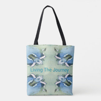 """Living the Journey"" Blue Green Positive Pattern Tote Bag"