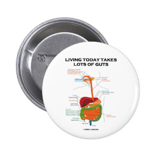 Living Today Takes Lots Of Guts (Digestive System) 2 Inch Round Button