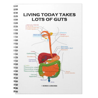 Living Today Takes Lots Of Guts Digestive System Spiral Notebook
